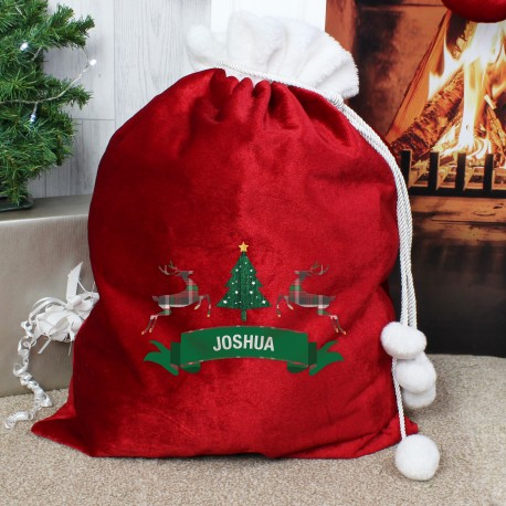 Personalised Nordic Christmas Luxury Pom Pom Sack & Keepsake