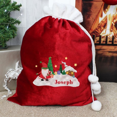 Personalised Tartan Santa Luxury Pom Pom Christmas Sack & Keepsake