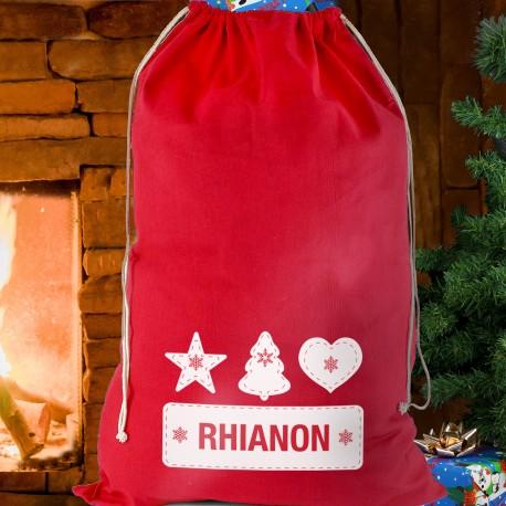Personalised Festive Stitch Cotton Christmas Sack & Keepsake