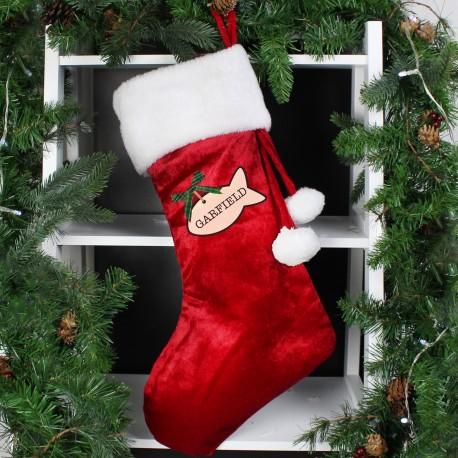 Personalised Cat Treats Luxury Christmas Stocking