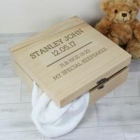 Personalised New Baby Keepsake Box Large Wooden