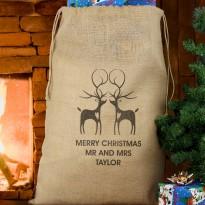 Personalised Reindeer Couple Hessian Christmas Sack & Keepsake