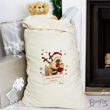 Personalised Boofle Christmas Reindeer Cotton Sack & Keepsake