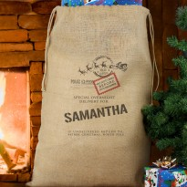 Personalised Special Delivery Hessian Christmas Sack & Keepsake