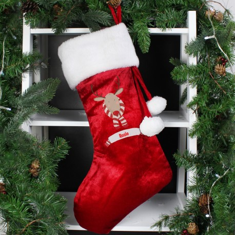 Personalised Retro Reindeer Luxury Christmas Stocking & Keepsake