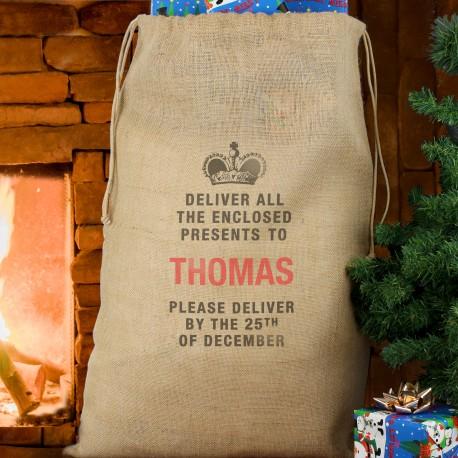 Personalised Deliver Presents To... Hessian Christmas Sack & Keepsake