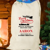 Personalised Merry Christmas Cotton Sack & Keepsake