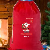Personalised Father Christmas Red Cotton Sack & Keepsake