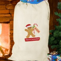 Personalised Gingerbread Man Christmas Cotton Sack & Keepsake