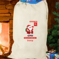 Personalised Father Christmas Cotton Sack & Keepsake