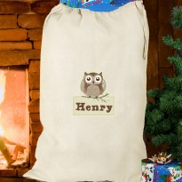 Personalised Woodland Owl Christmas Cotton Sack & Keepsake