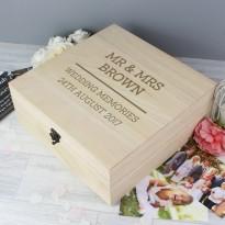Personalised Wedding Keepsake Box Large Wooden