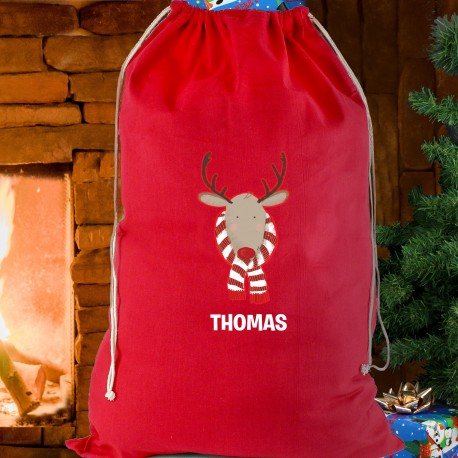 Personalised Retro Reindeer Red Cotton Sack & Keepsake