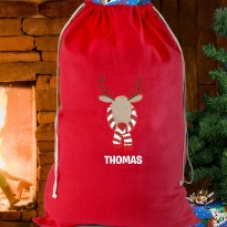 Personalised Retro Reindeer Red Cotton Christmas Sack & Keepsake