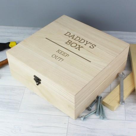 Personalised Daddy Large Wooden Keepsake Box