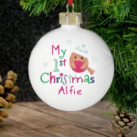 Personalised Felt Stitch Robin 'My 1st Christmas' Bauble