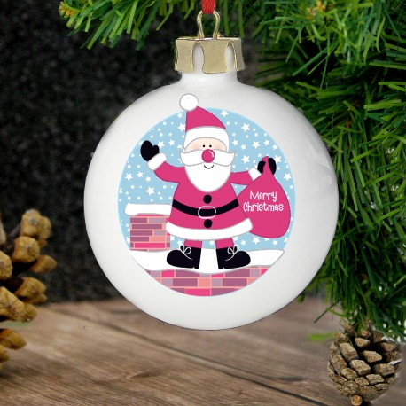 Personalised Rooftop Santa Christmas Bauble