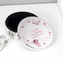 Personalised Fairy Round Trinket Box