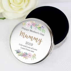 Personalised Floral Watercolour Round Trinket Box
