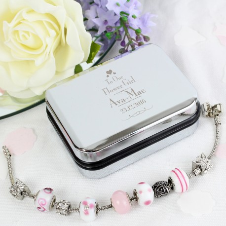 Personalised Decorative Wedding Flower Girl Silver Box and Candy Pink 18cm Charm Bracelet