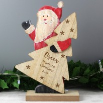Personalised Snowflake Wooden Santa Christmas Decoration & Keepsake