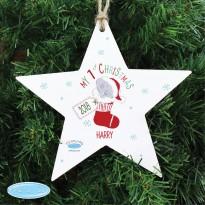 Personalised Tiny Tatty Teddy My 1st Christmas Stocking Wooden Star Christmas Decoration & Keepsake