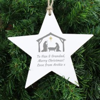 Personalised Nativity Wooden Star Christmas Decoration & Keepsake