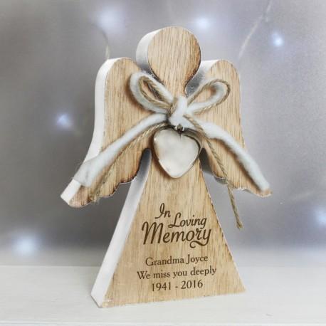Personalised In Loving Memory Rustic Wooden Angel Decoration & Keepsake