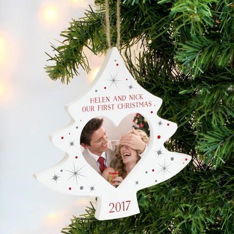 Personalised Christmas Tree Photo Frame Decoration & Keepsake