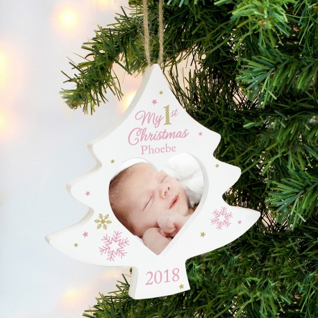 Personalised Pink My 1st Christmas Tree Photo Frame Decoration & Keepsake