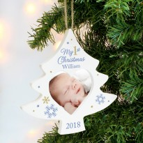 Personalised Blue My 1st Christmas Tree Photo Frame Decoration & Keepsake