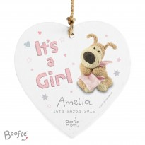 Personalised Boofle It's a Girl Wooden Heart Decoration & Keepsake