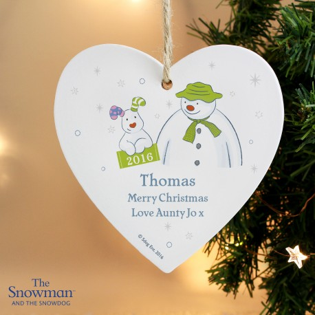 Personalised The Snowman and the Snowdog My 1st Christmas Heart Decoration & Keepsake