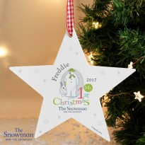 Personalised The Snowman and the Snowdog My 1st Christmas Star Decoration & Keepsake
