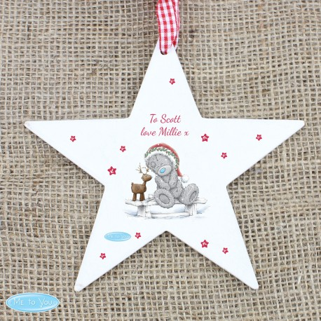 Personalised Me To You Reindeer Wooden Star Decoration & Keepsake