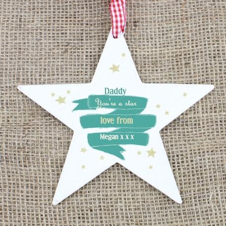 Personalised Shining Star Wooden Star Christmas Decoration & Keepsake