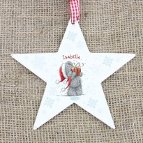 Personalised Me To You Wooden Star Christmas Decoration & Keepsake