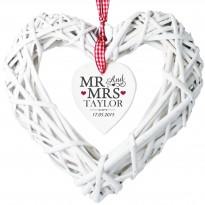 Personalised Mr & Mrs Wicker Heart Decoration & Keepsake