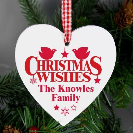 Personalised Christmas Wishes Wooden Heart Decoration & Keepsake