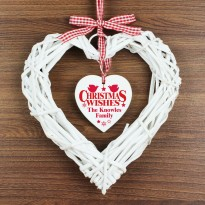Personalised Christmas Wishes Wicker Heart Decoration & Keepsake