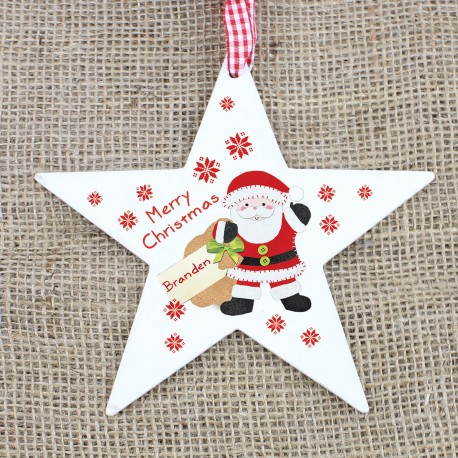 Personalised Felt Stitch Santa Wooden Star Decoration & Christmas Keepsake