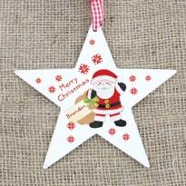 Personalised Felt Stitch Santa Wooden Star Decoration & Christmas Keepsake