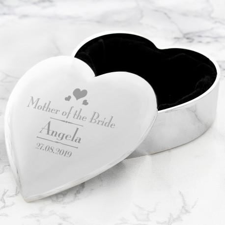 Personalised Decorative Wedding Mother of the Bride Heart Trinket Box