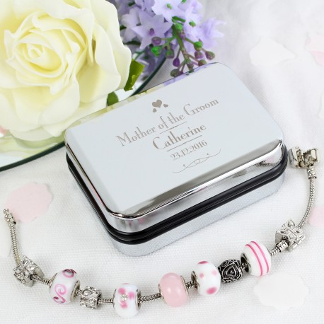Personalised Decorative Wedding Mother of the Groom Silver Box and Candy Pink 21cm Charm Bracelet