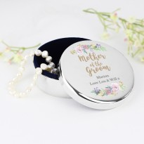 Personalised Mother of the Groom 'Floral Watercolour Wedding' Round Trinket Box