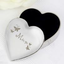 Mum Butterflies Heart Trinket Box