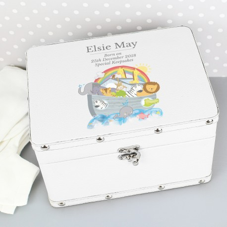 Personalised Noah's Ark White Leatherette Keepsake Box