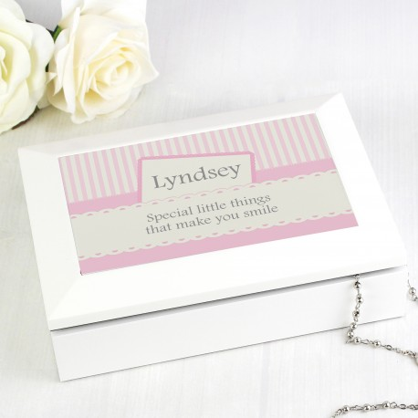 Personalised Pink Elegant White Jewellery Box