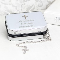 Personalised Rosary Beads and Cross Trinket Box