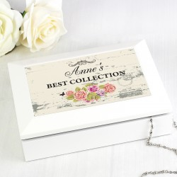 Personalised Shabby Chic White Jewellery Box